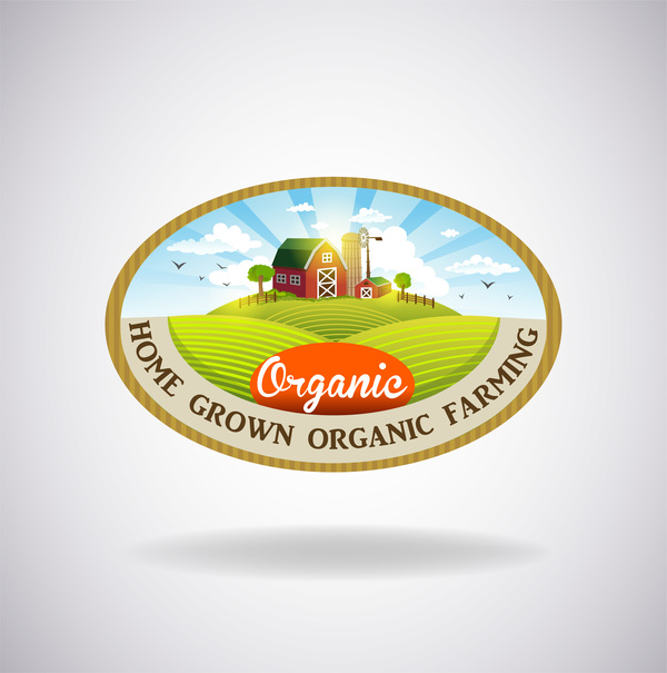 Farm natural fresh organic label design vector 02