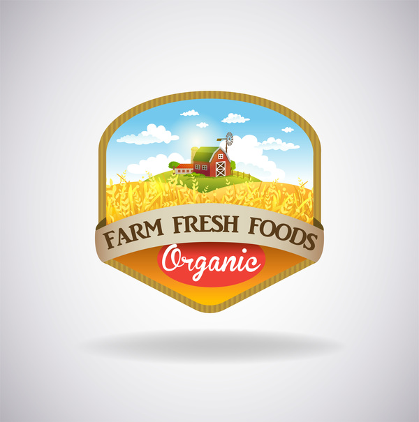 Farm natural fresh organic label design vector 03