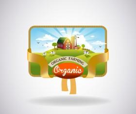 Farm natural fresh organic label design vector 04