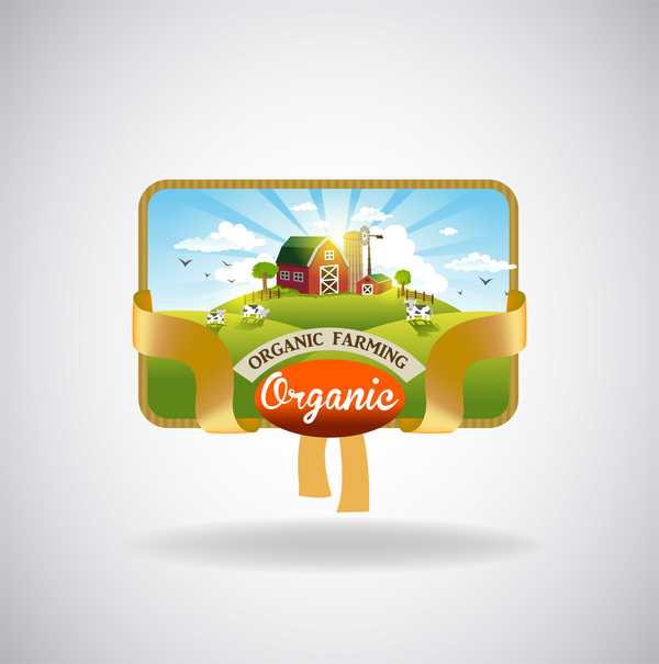 Farm natural fresh organic label design vector 04