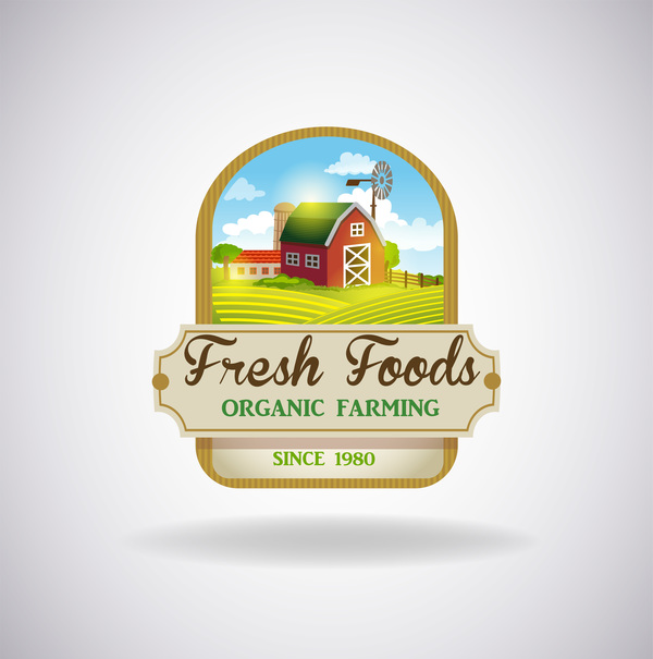 Farm natural fresh organic label design vector 05