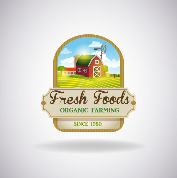Farm natural fresh organic label design vector 05