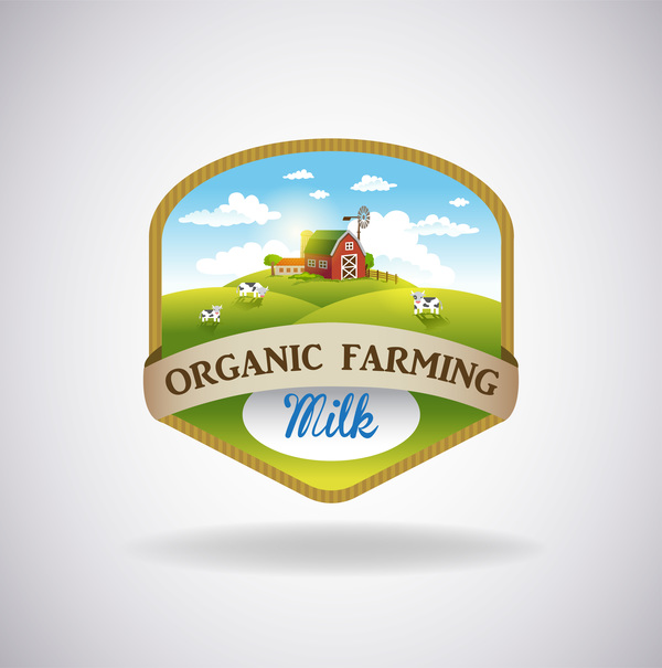 Farm natural fresh organic label design vector 06