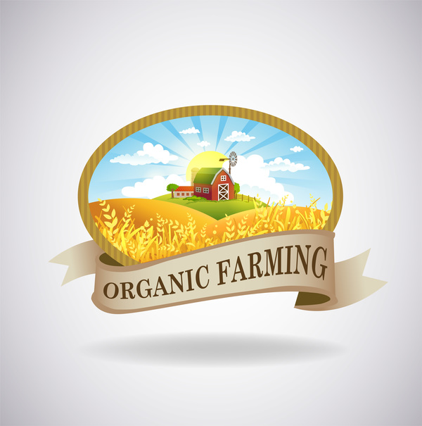Farm natural fresh organic label design vector 07
