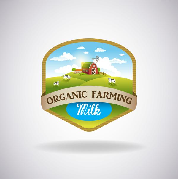 Farm natural fresh organic label design vector 08