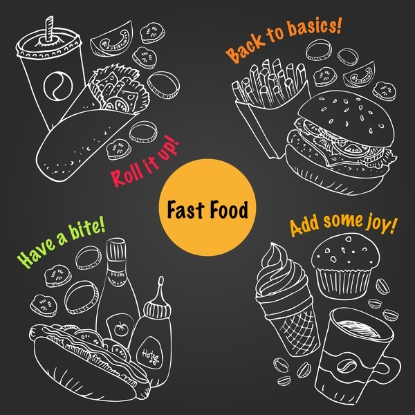 Fast food hand drawing vector