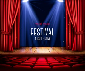 Festival background with red curtain and light vector 01