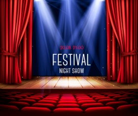 Festival background with red curtain and light vector 02