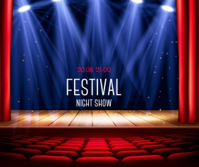 Festival background with red curtain and light vector 03