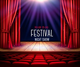 Festival background with red curtain and light vector 04