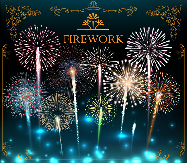 Festive colorful fireworks background vector