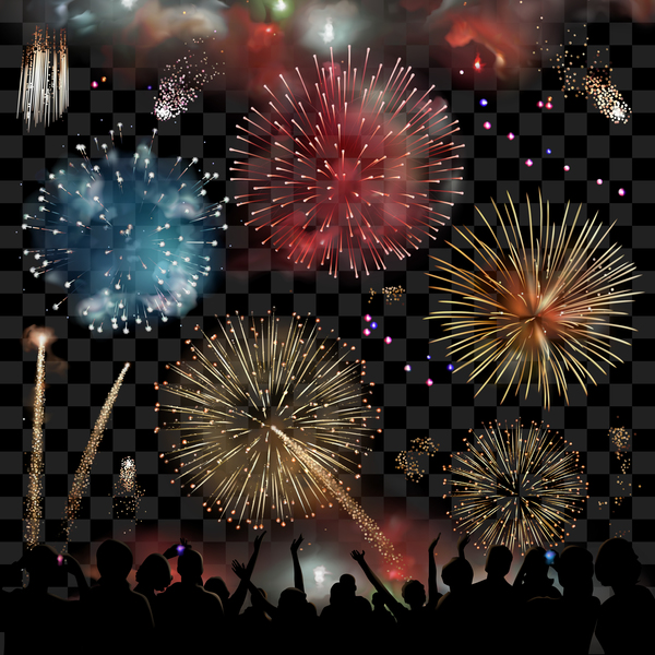 Firework with people silhouette vectors