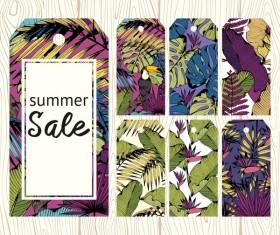 Floral summer sale tags vectors