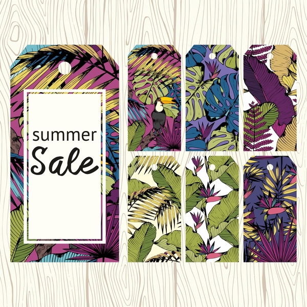 Floral summer sale tags vectors