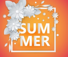 Flower with frame and summer background vector