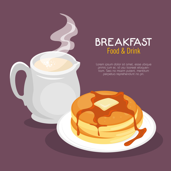 Food and drinks breakfast poster vectors 01