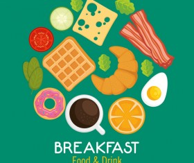 Food and drinks breakfast poster vectors 02