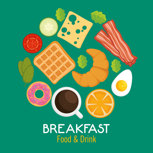Food and drinks breakfast poster vectors 02