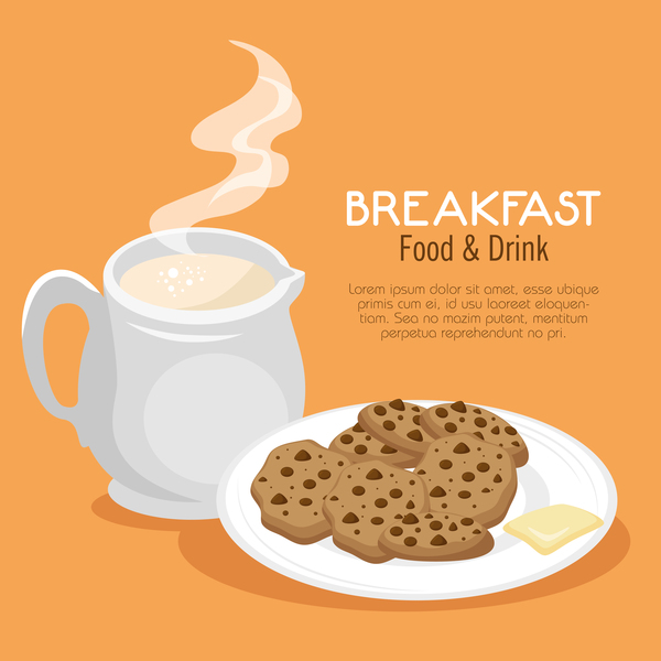 Food and drinks breakfast poster vectors 03