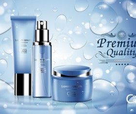 Fresh blue cosmetic ream poster design vectors 01