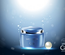 Fresh blue cosmetic ream poster design vectors 03