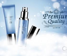 Fresh blue cosmetic ream poster design vectors 04