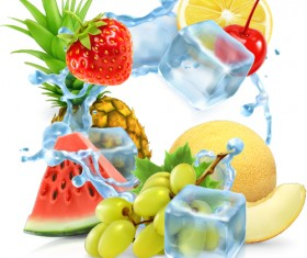 Fresh fruit with ice vector