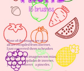 Fruits outlines Photoshop Brushes