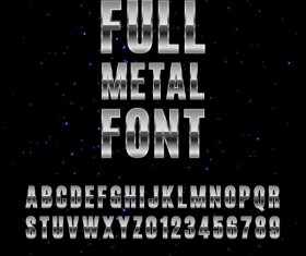 Full metal alphabet with numbers vector