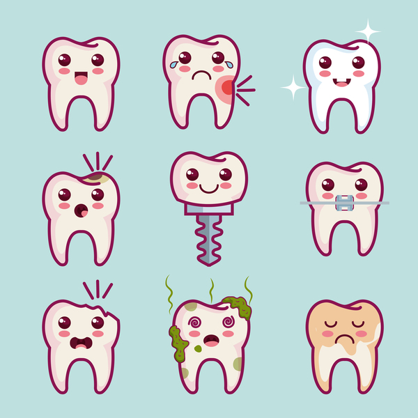 Funny cartoon tooths vector