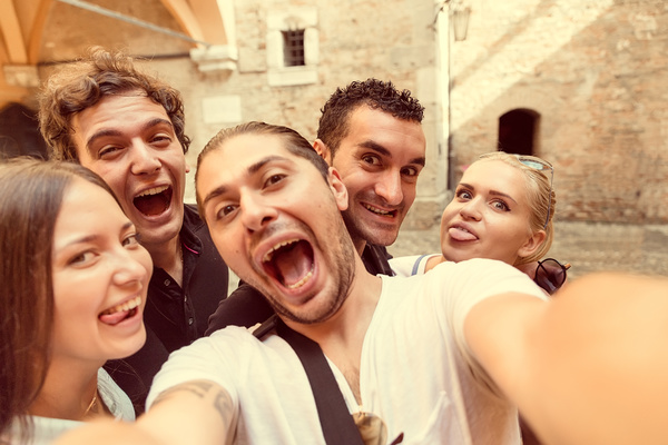 Funny self timer friends Stock Photo