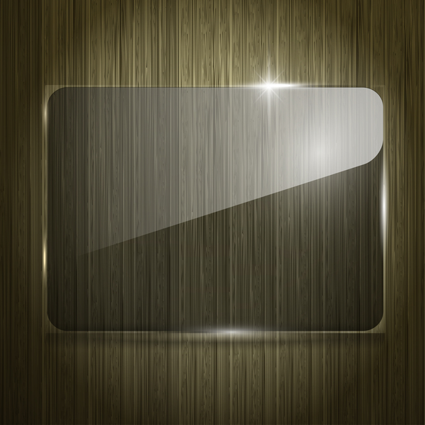 Glass banner with wood background vecto