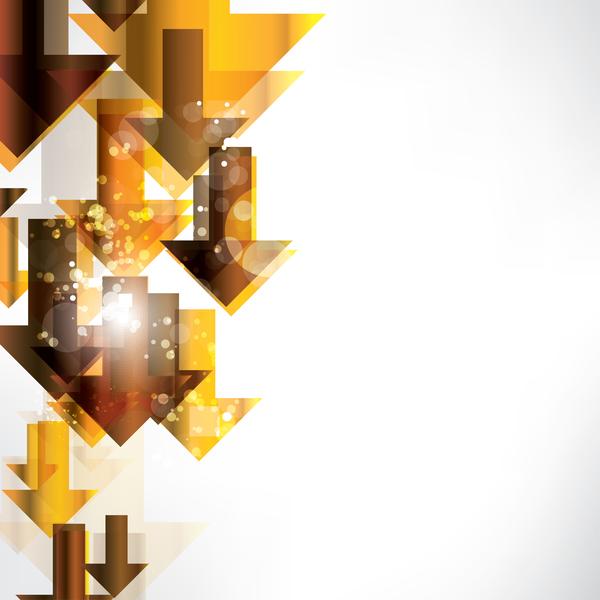 Golden abstract arrow shiny vector