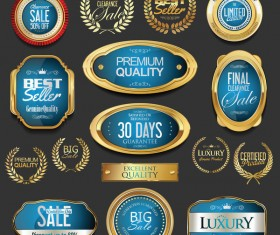 Golden badges and labels with laurel wreath vector set