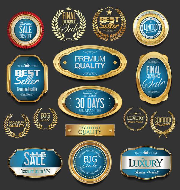 Golden badges and labels with laurel wreath vector set