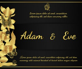 Golden butterflies and orchids Invitation card template vector 03