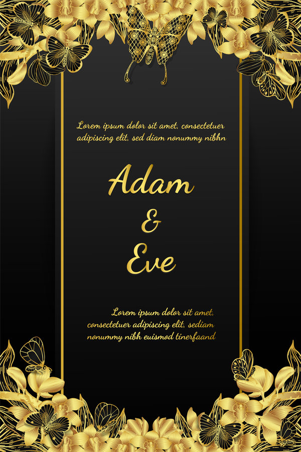 Golden Butterflies And Orchids Invitation Card Template