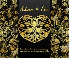 Golden butterflies and orchids Invitation card template vector 09