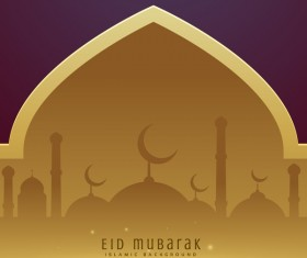 Golden with purple eid mubarak background design vector
