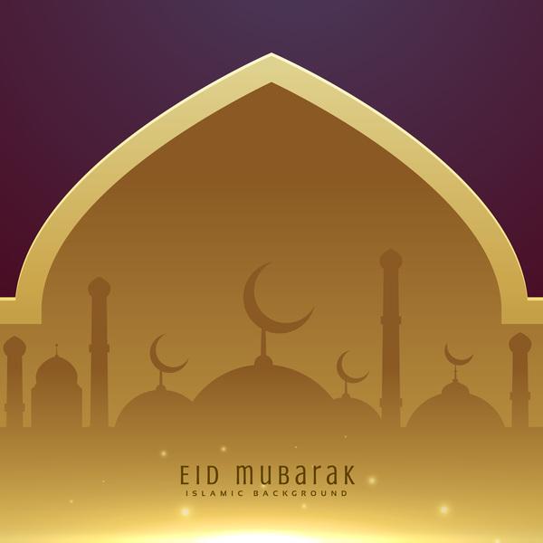 Golden with purple eid mubarak background design vector