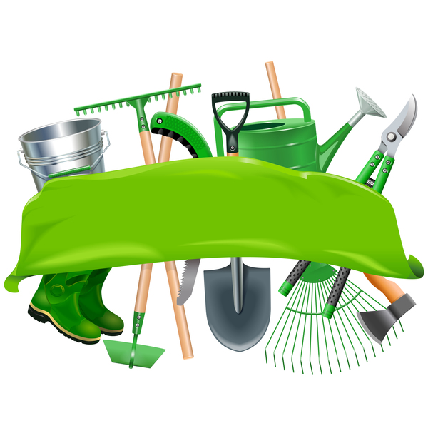 Green Banner with Garden Tools vector