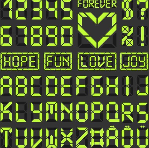 Green LED alphabet vector 01