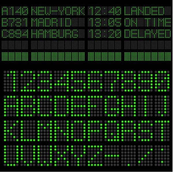 Green LED alphabet vector 02