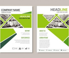 Green business flyer vector template 01