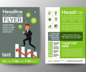 Green business flyer vector template 02