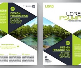 Green business flyer vector template 03