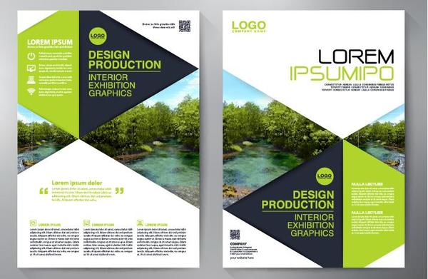 Green business flyer vector template 04