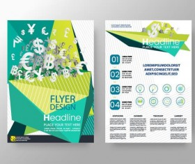 Green business flyer vector template 05