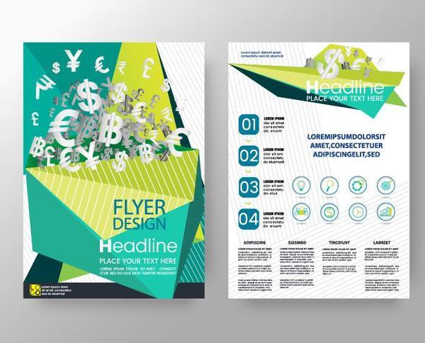 Green business flyer vector template 05