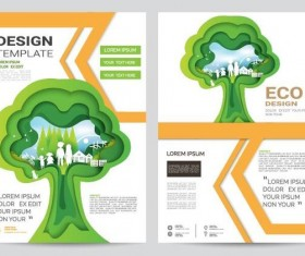 Green business flyer vector template 06